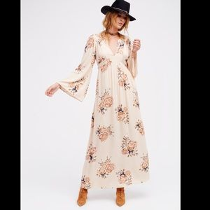 Free People Long Sleeve Floral Maxi Dress
